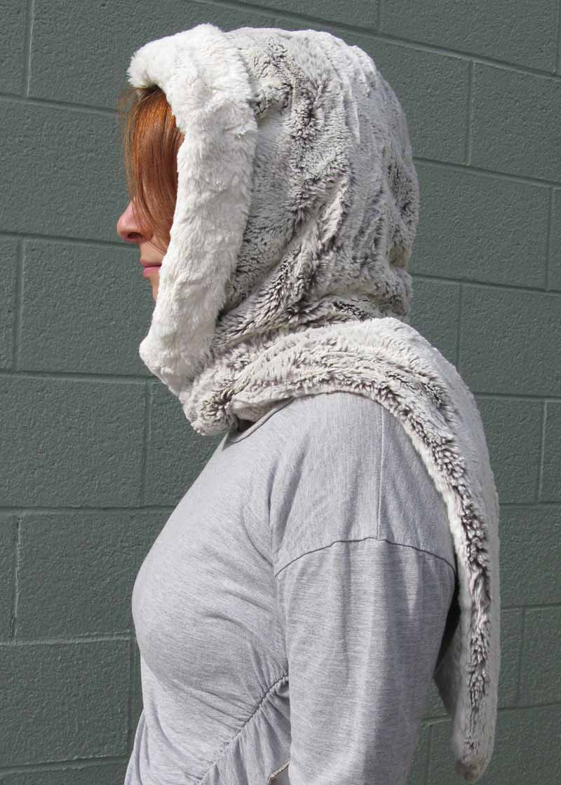 Faux Fur Hoody Scarf in Khaki and Ivory