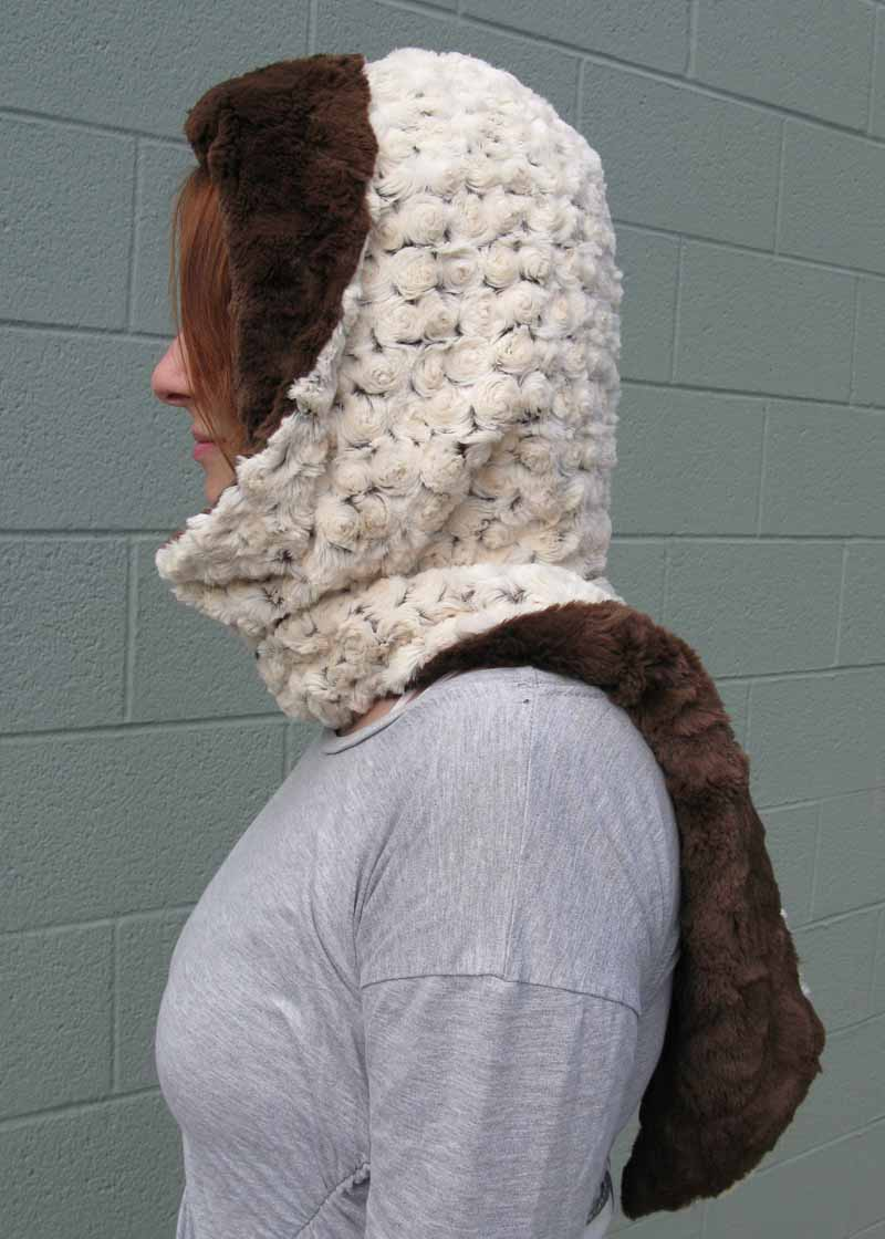 Faux Fur Hoody Scarf in Brown Rosebud and Brown