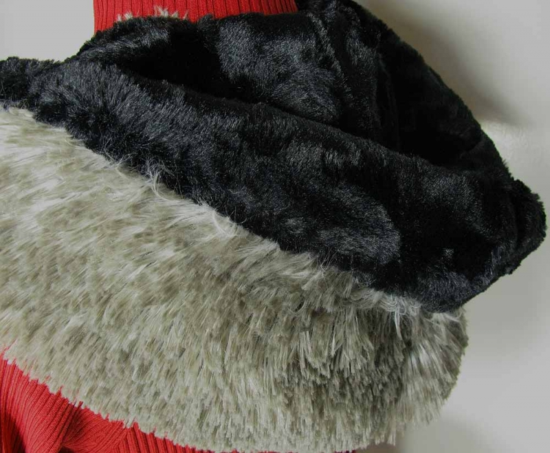 Faux Fur Hoody Scarf in Arctic Fox and Black