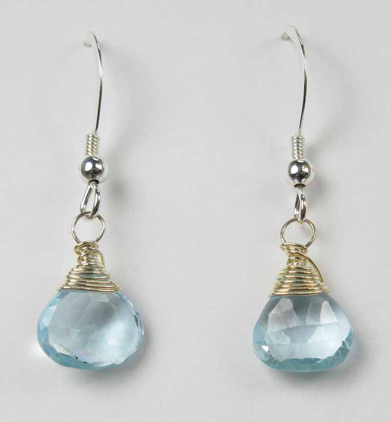 Small Blue Topaz briolette earrings