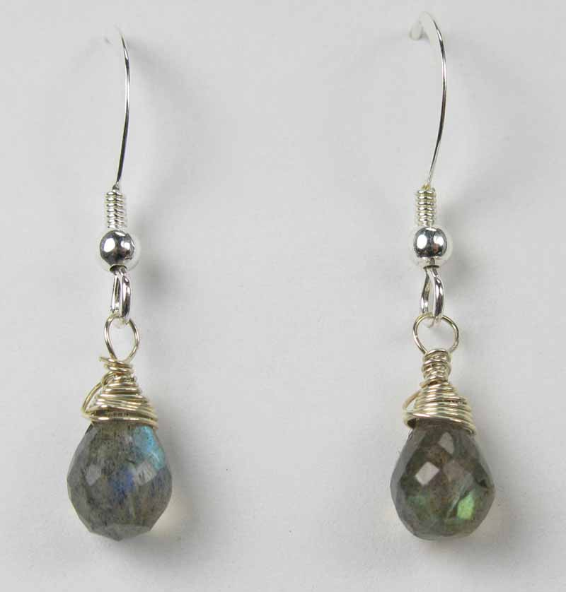 Silver Gemstone Drop Earrings - Labradorite