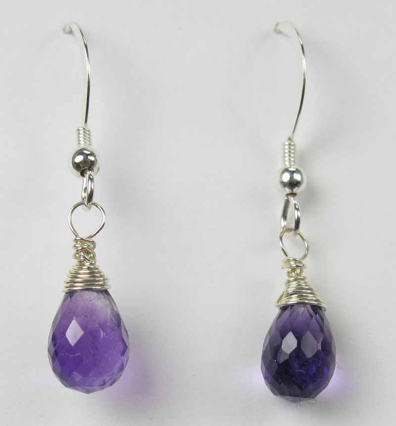 Silver Gemstone Drop Earrings - Amethyst