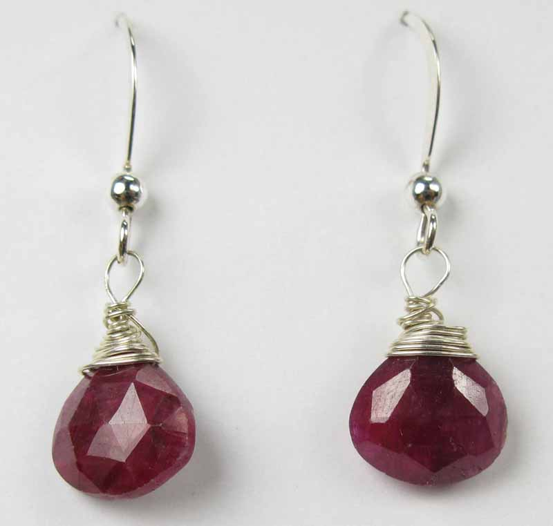 Silver Gemstone Drop Earrings - Ruby