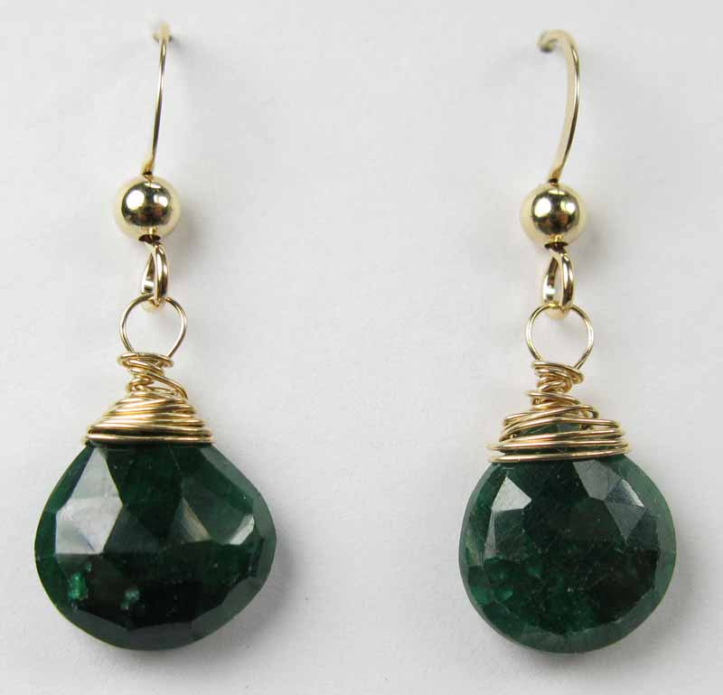 Gold Gemstone Drop Earrings - Emerald