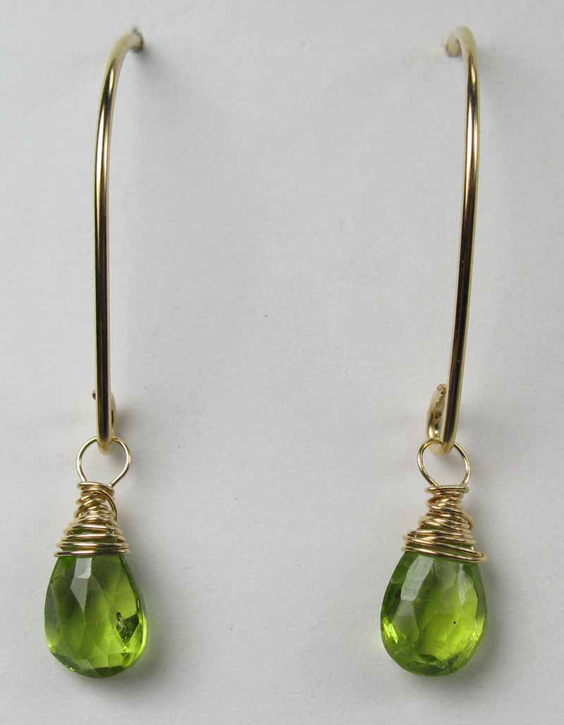 Gold Gemstone Oval Earrings - Peridot