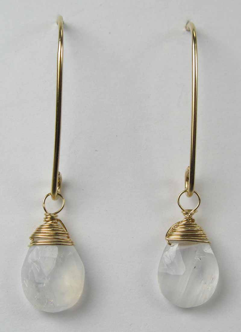 Gold Gemstone Oval Earrings - Moonstone