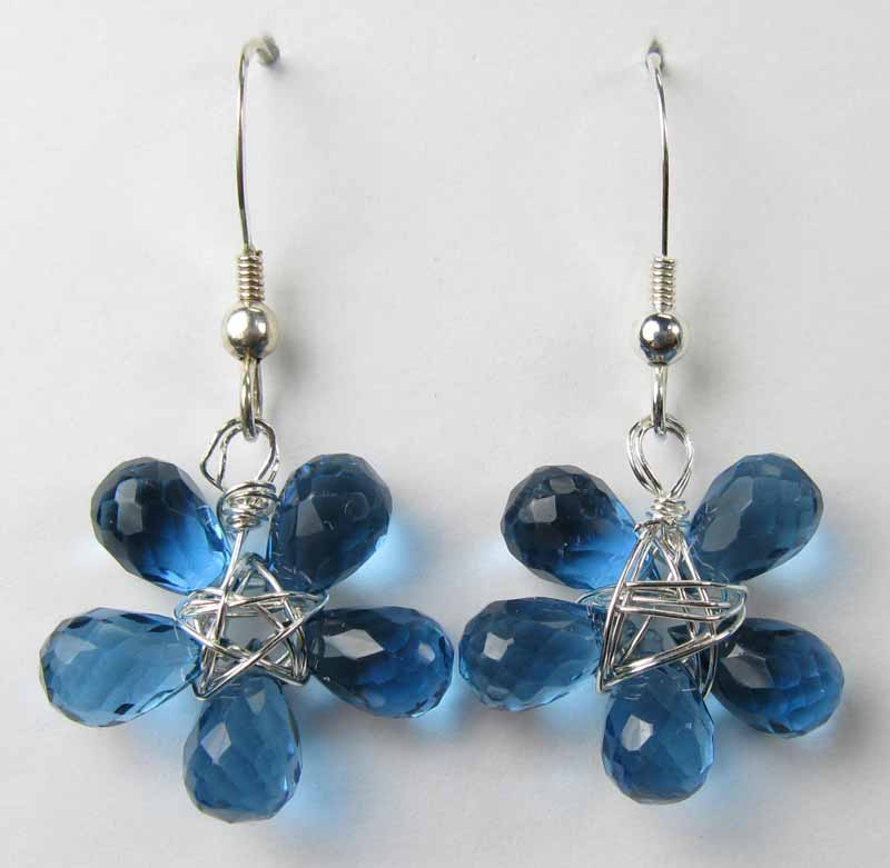 Silver Gemstone Flower Drop Earrings - London Blue Quartz
