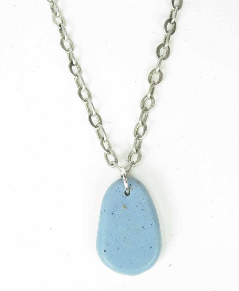 Chain Necklace with Hand Polished Leland Blue Oval