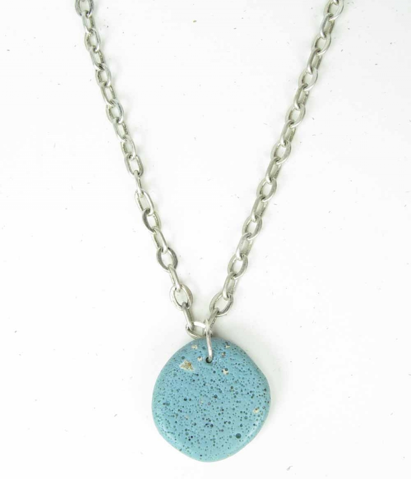 Chain Necklace - Hand Polished Leland Blue Stone