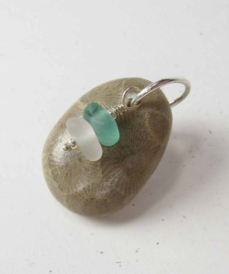 Petoskey Stone Pendant with Beach Glass Dangles