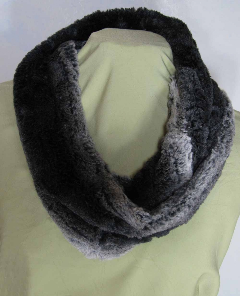 Infinity Scarf in Chinchilla Black Faux Fur