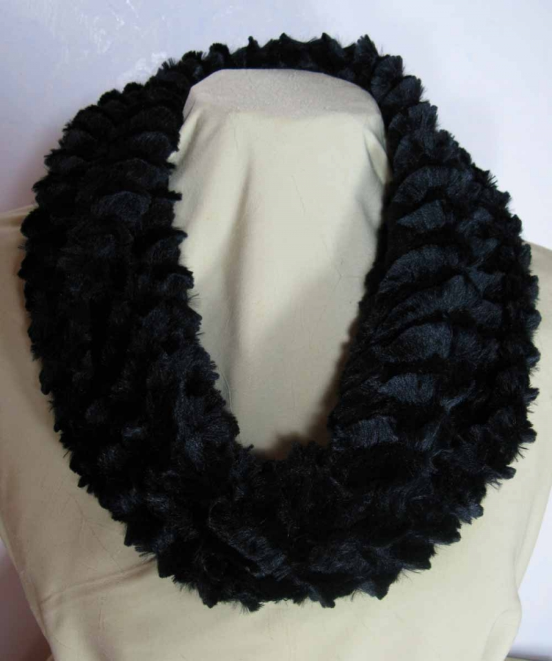 Infinity Scarf in Desert Sand Black Faux Fur