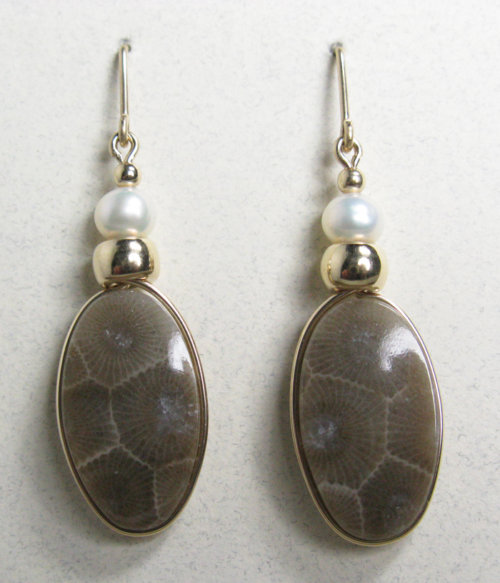 Petoskey Stone Earrings - Gold and Pearls