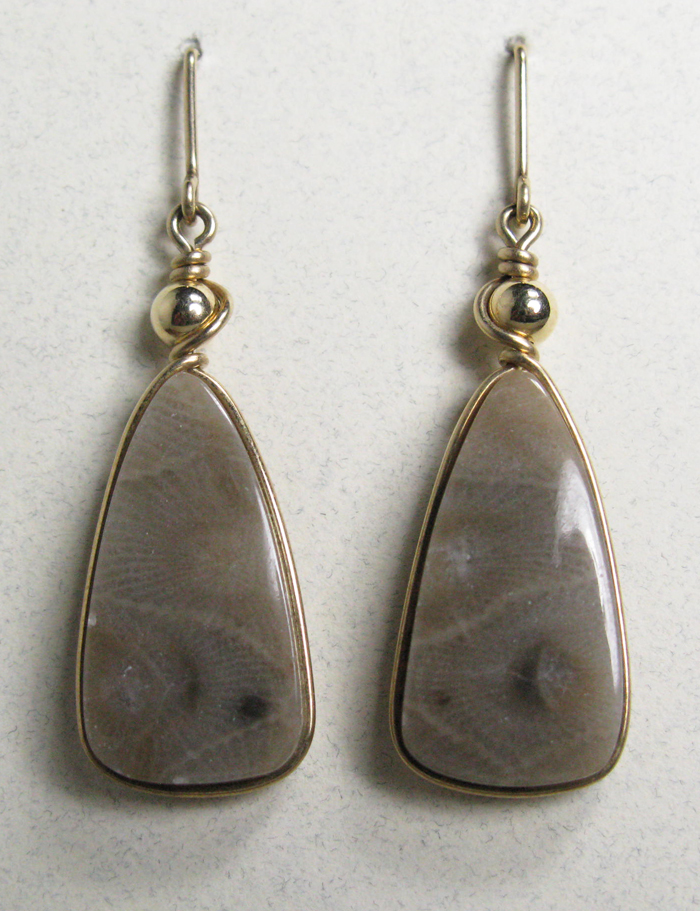 Petoskey Stone Earrings in Gold