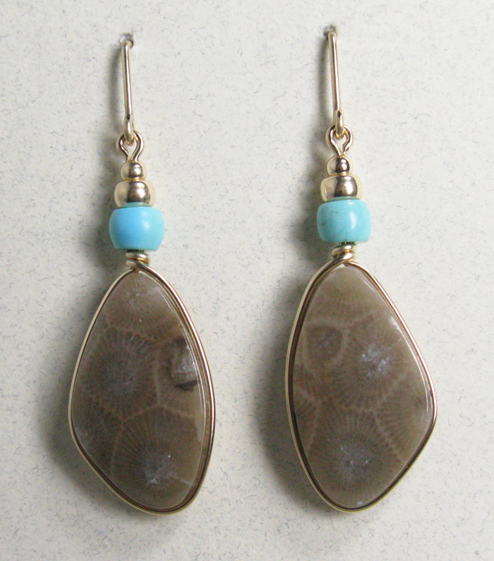 Petoskey Stones Earrings with Turquoise in Gold