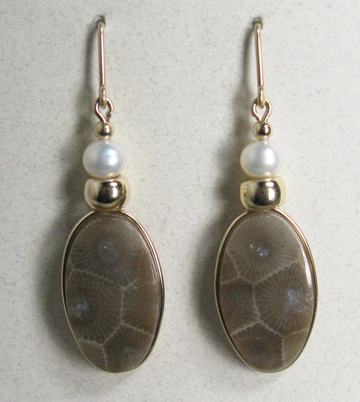 Petoskey Stone Earrings - Gold and Pearl