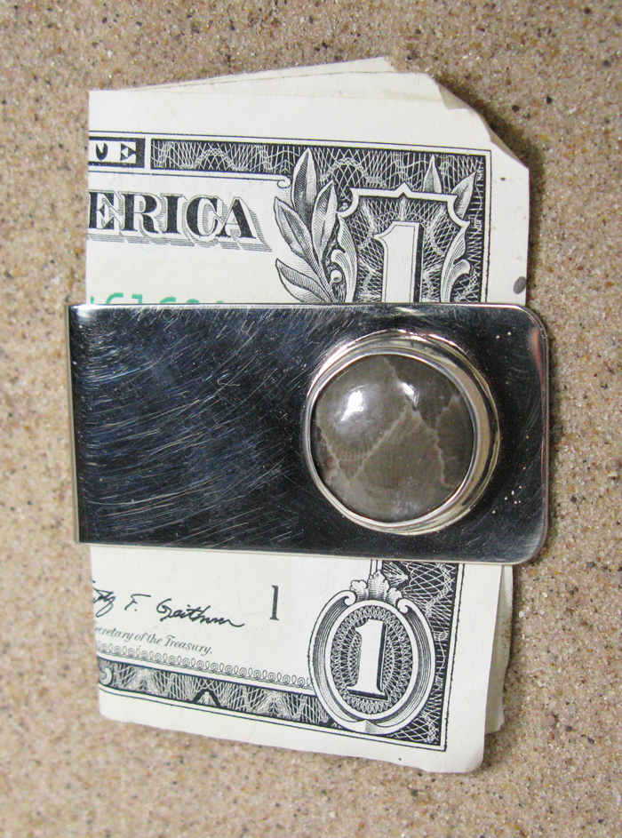 Money Clip - Sterling and Petoskey Stone