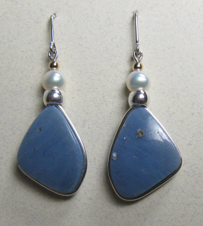 Leland Blue Stone Earrings - Sterling, Pearls