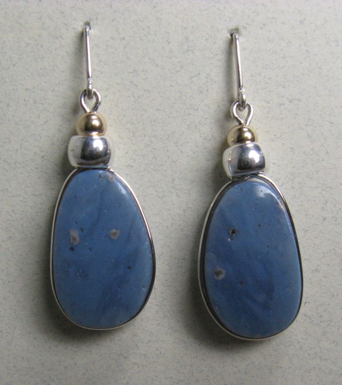 Leland Blue Stone Earrings with Gold Bead