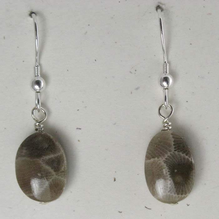Medium Oval Petoskey Stone Earrings