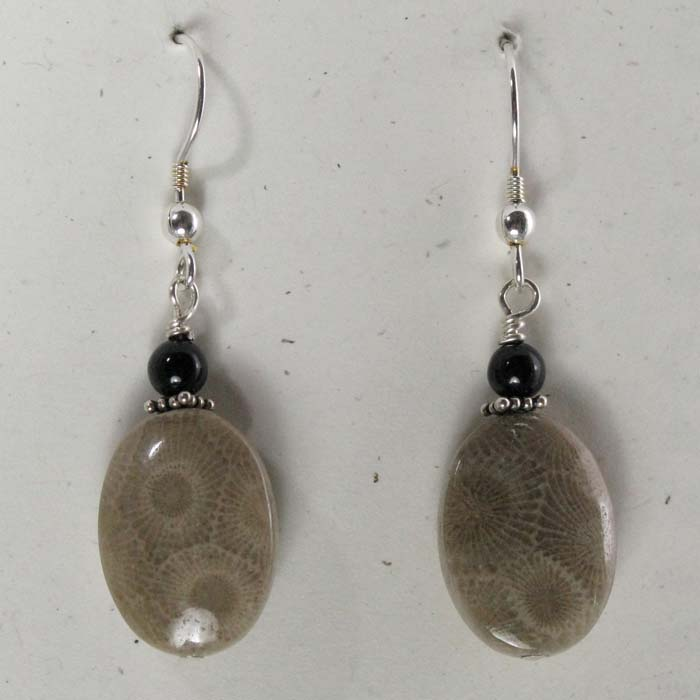 Large Oval Petoskey Stone Earrings with Bead
