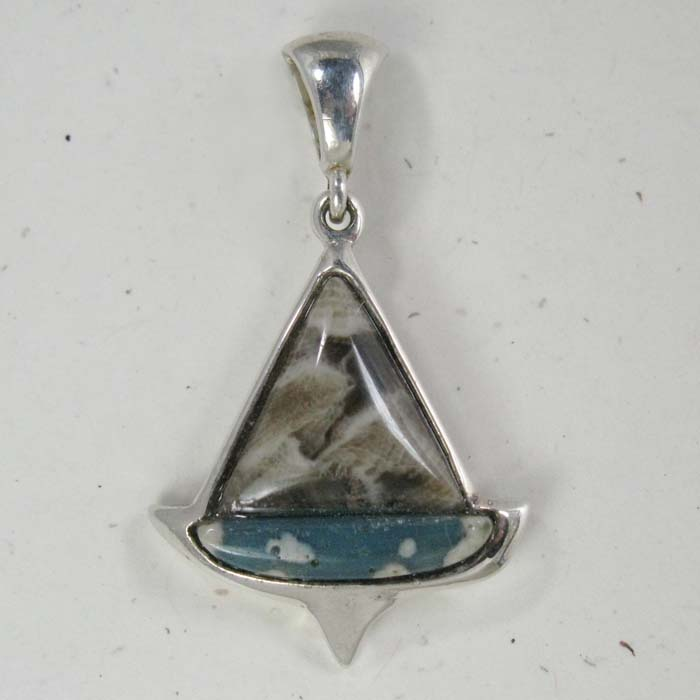 Sailboat Pendant in Petoskey and Leland Blue Stone