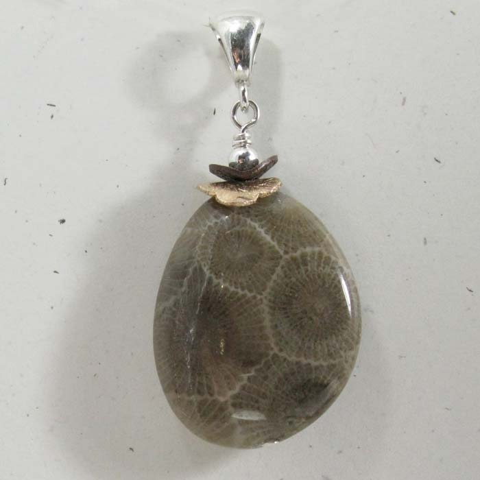 Freeform Petoskey Pendant on Bail