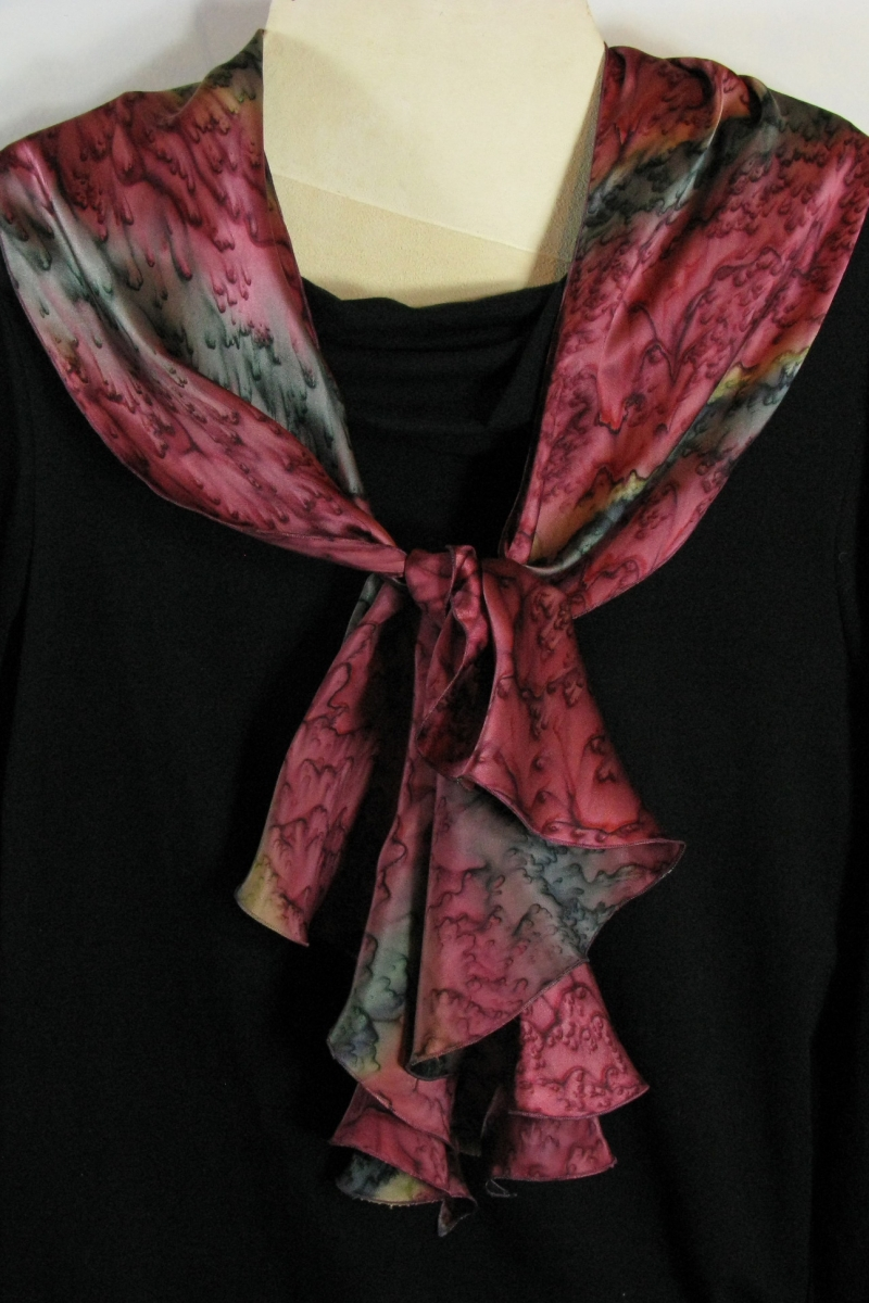 Silk Swirl Scarf in Red Rock