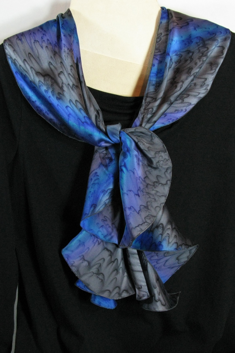 Silk Swirl Scarf in Charcoal/Lavendar