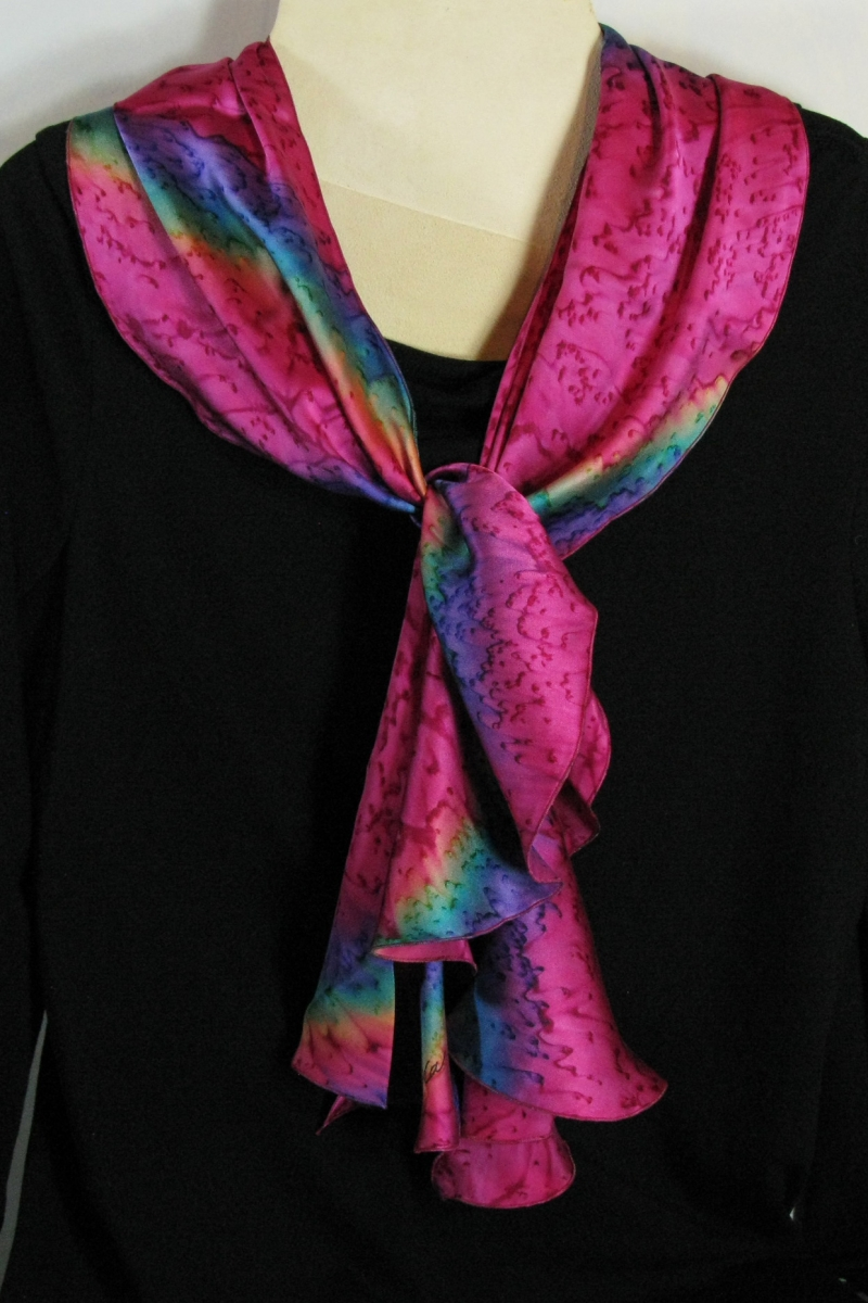 Silk Swirl Scarf in Raspberry