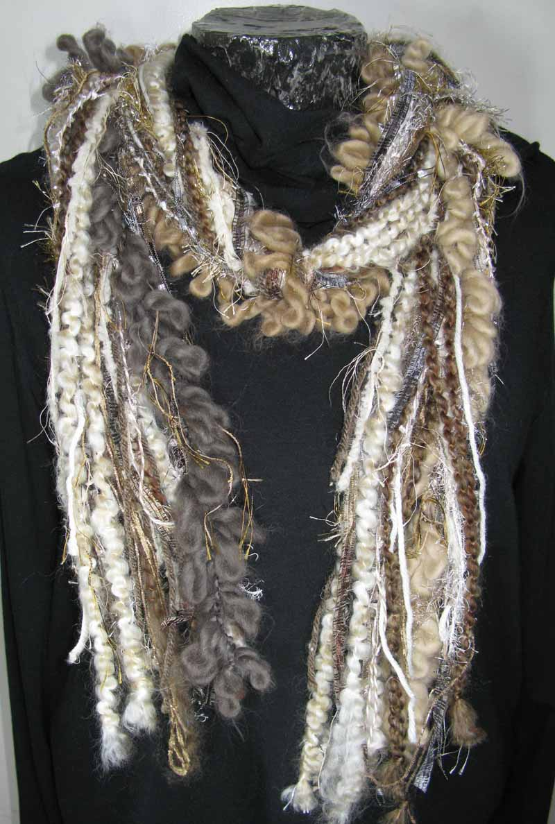 Knotted Fiber Scarf in Creamy Khaki