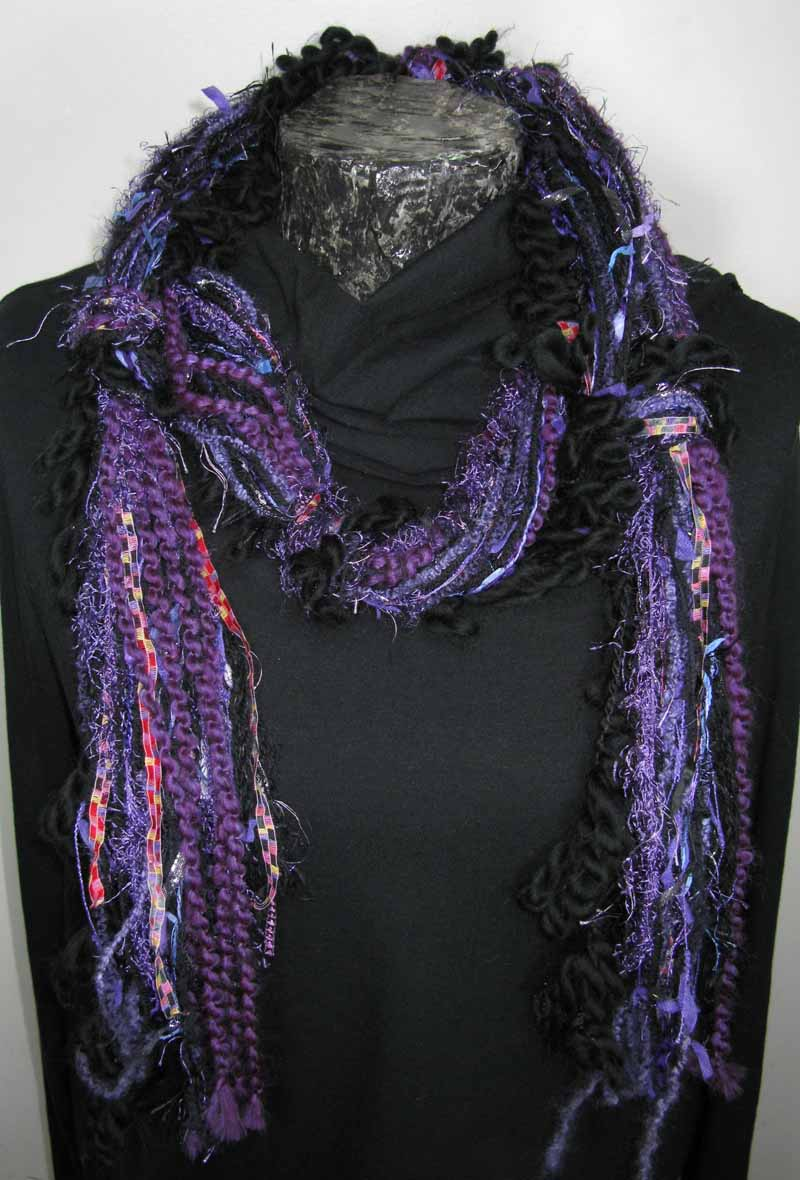 Knotted Fiber Scarf in Purple Black