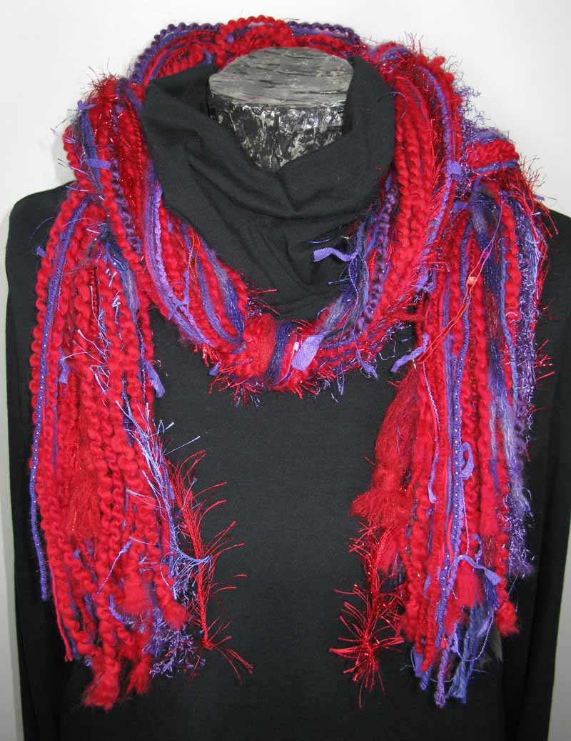 Knotted Fiber Scarf in Red Violet