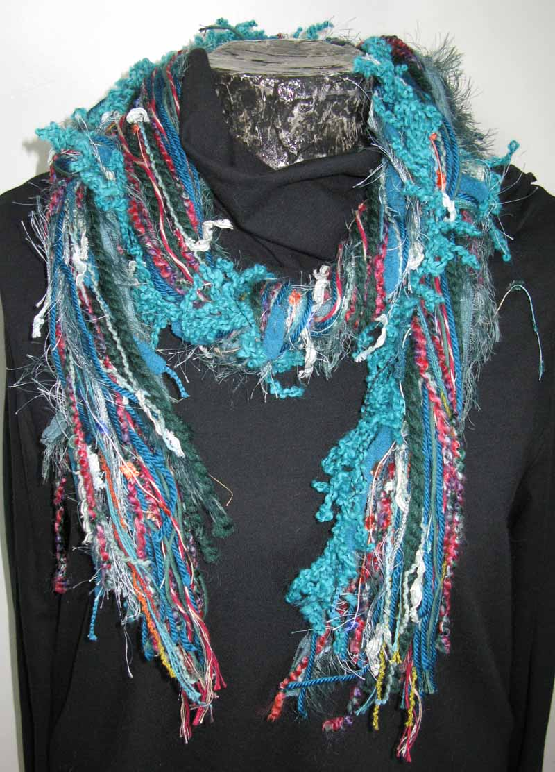 Knotted Fiber Scarf in Turquoise Gemstone