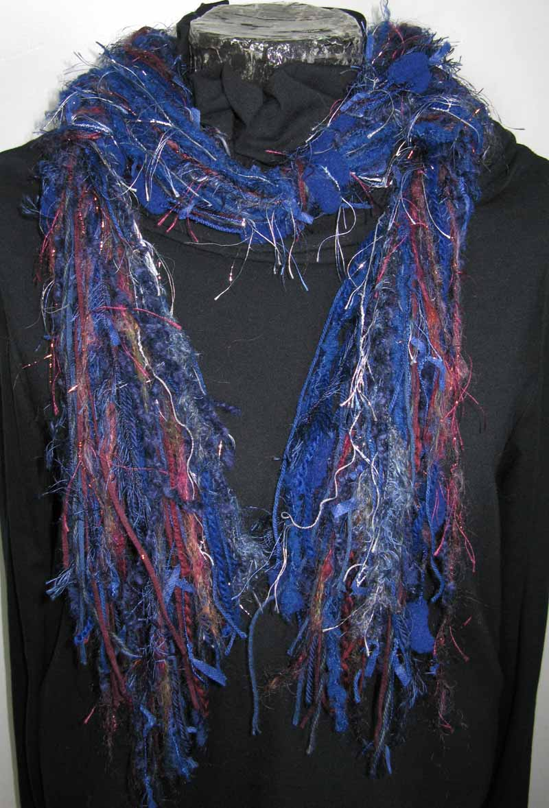 Knotted Fiber Scarf in Indigo Mood