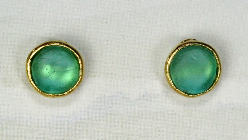 Round Glass Post Earrings in Teal