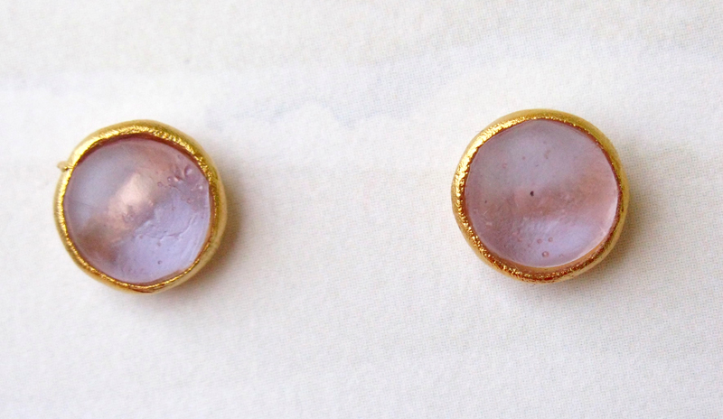 Cast Glass Post Earrings in Lavender