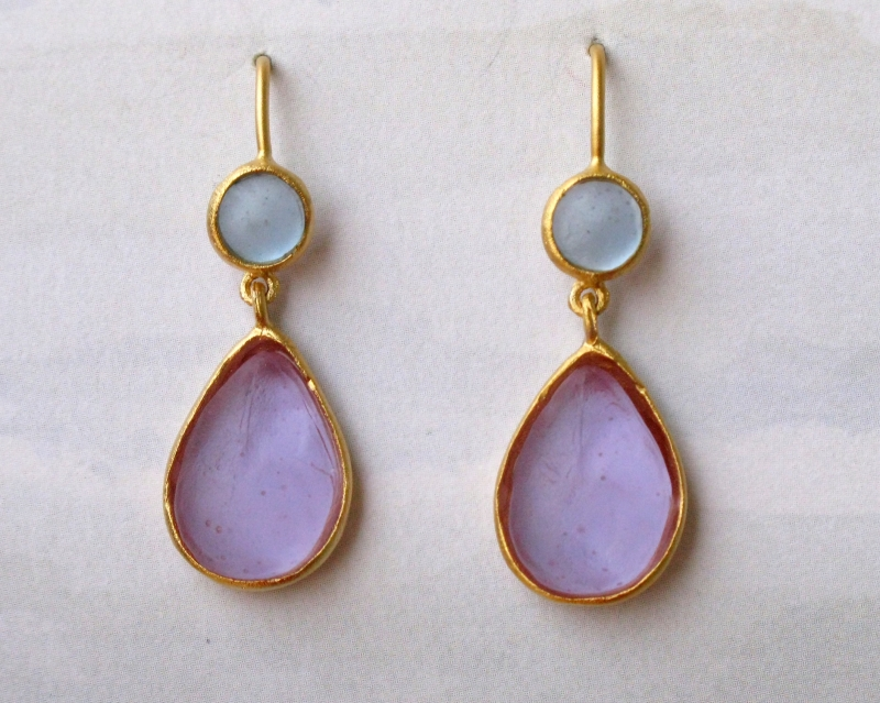 Cast Glass Oval Hanging Earrings in Lavender-Blue