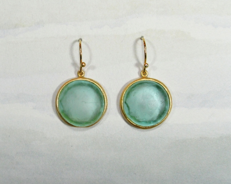 Round Cast Glass Drop Earrings in Teal
