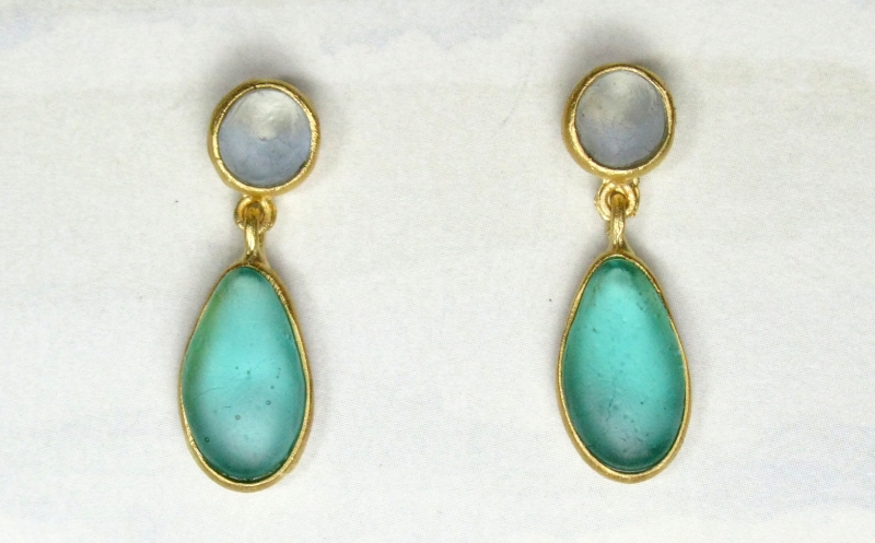 Cast Glass Post Drop Earrings in Blue-Teal