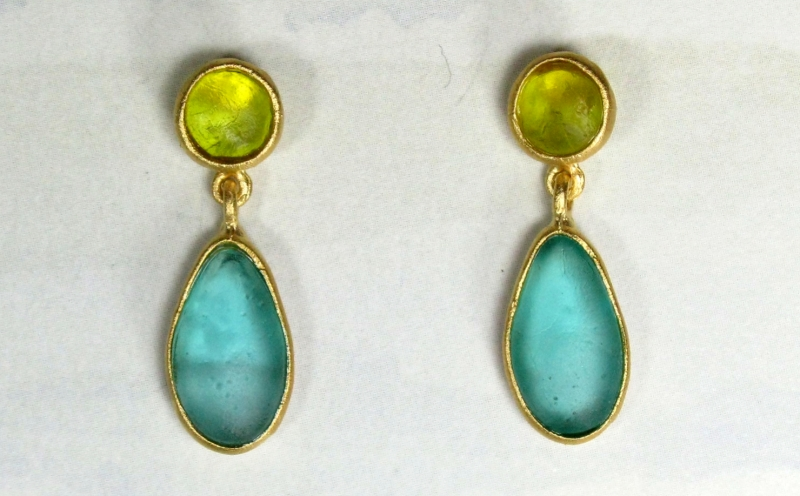 Cast Glass Post Drop Earrings in Olive-Teal
