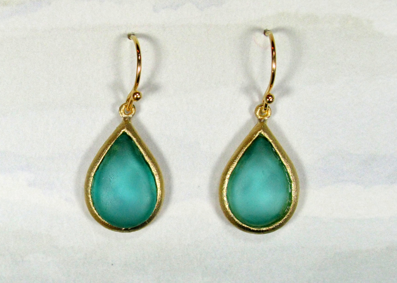 Cast Glass Pear Drop Earrings in Teal