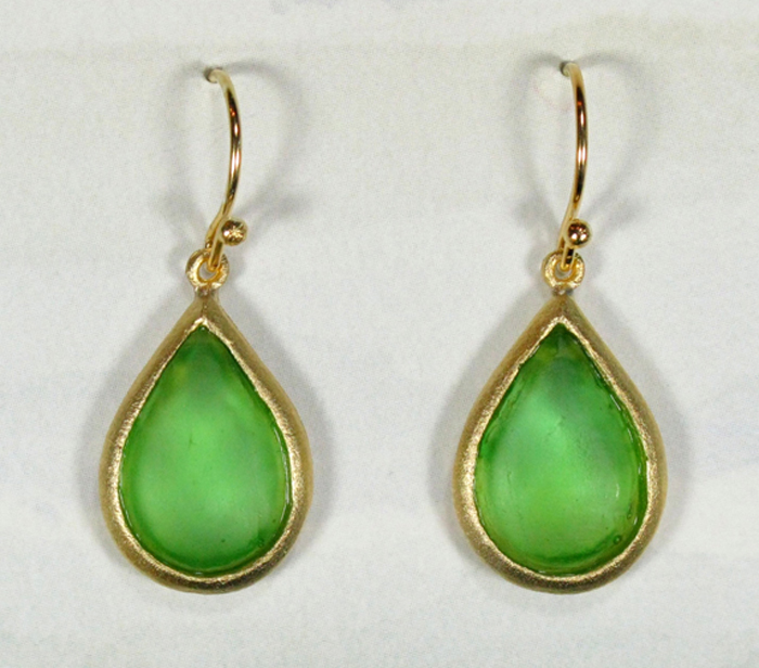 Cast Glass Pear Drop Earrings in Peridot