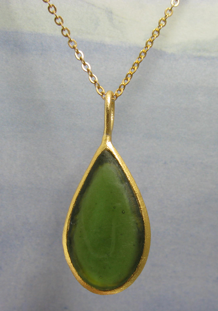 Cast Glass Pear Shape Necklace in Olive