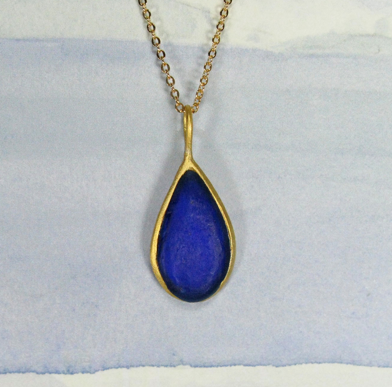 Cast Glass Pear Shape Necklace in Cobalt