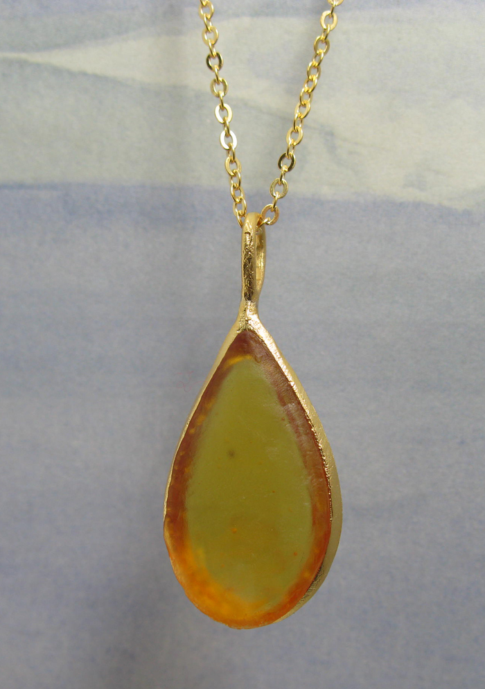Cast Glass Pear Shape Necklace in Amber