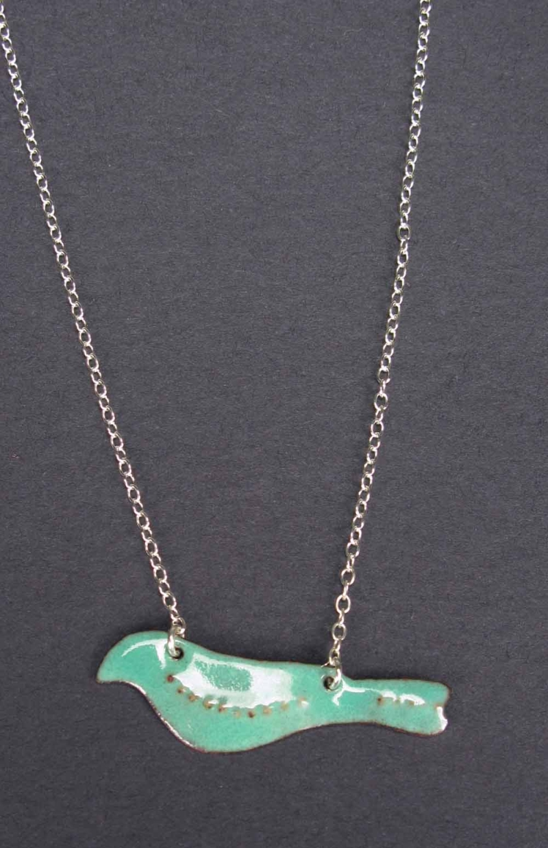 Copper Enamel Bird Necklace on Chain