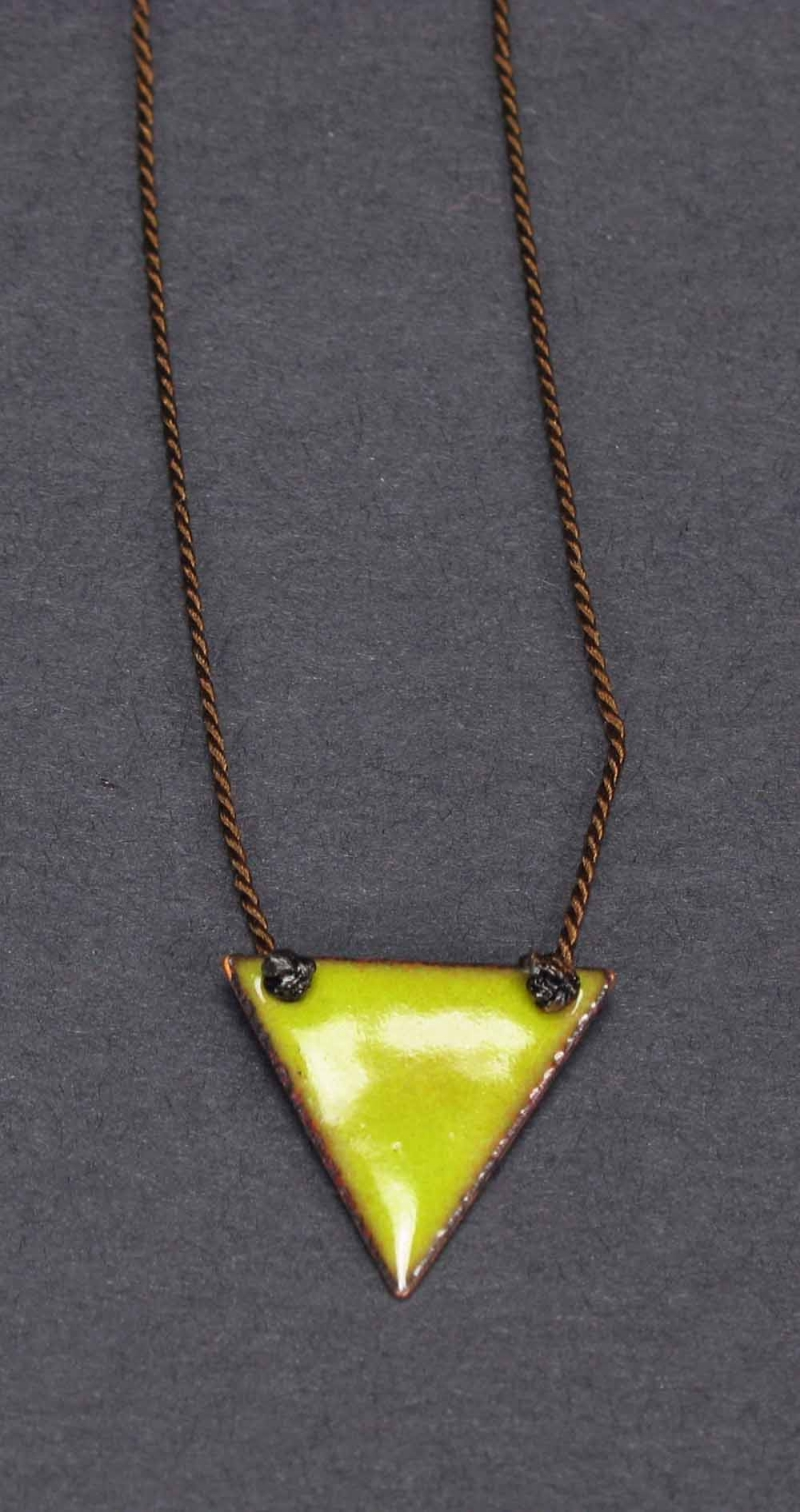 Large Copper Enamel Triangle Necklace