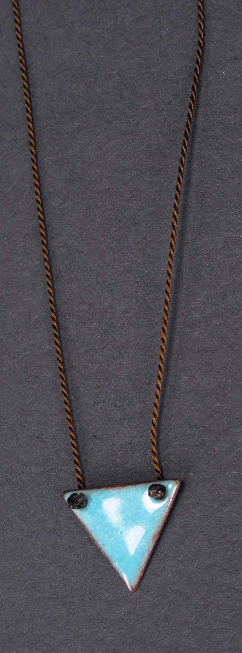 Copper Enamel Triangle Necklace - Small