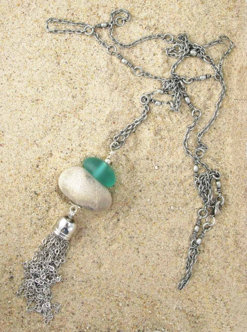 Long Necklace in Beach Glass and Stones